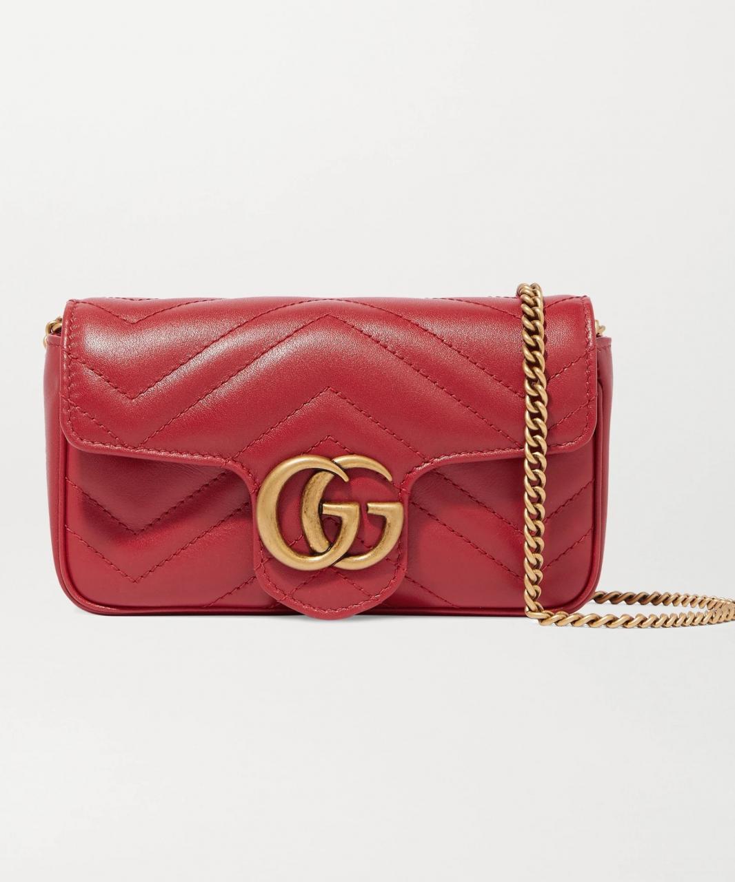 Gucci GG Marmont红色皮革小手提包