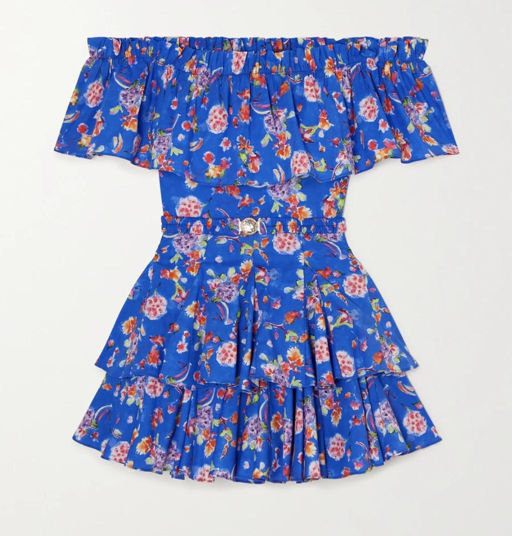 CAROLINE CONSTAS Serena off-the-shoulder belted ruffled floral-print cotton-blend mini dress